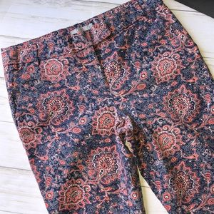Dalia Paisley Print Work Pants Crop 8 EUC